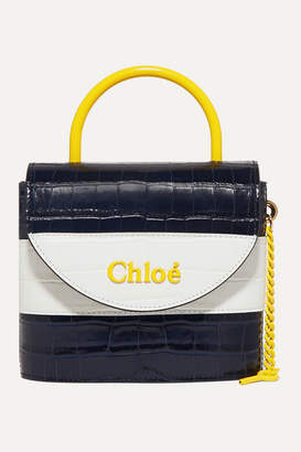 Chloé Aby Lock Small Striped Croc-effect Leather Shoulder Bag - Navy