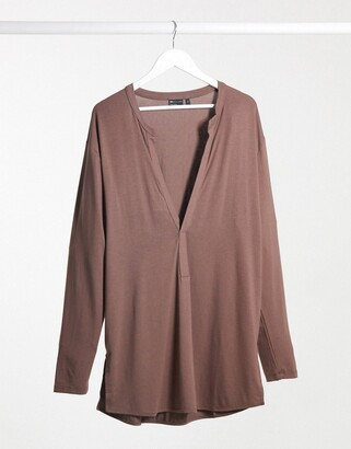 ASOS DESIGN long sleeve viscose t-shirt with deep extreme v neck in viscose in brown