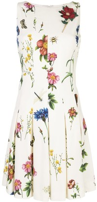 Oscar de la Renta Sleeveless Floral Print Dress