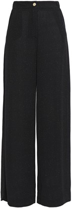 Just Cavalli Glittered Stretch-knit Wide-leg Pants