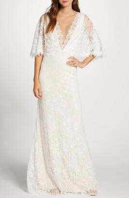 Tadashi Shoji Capelet Lace Wedding Dress