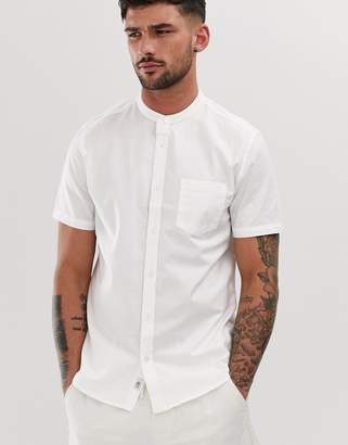 Burton Menswear skinny fit shirt with grandad collar in white