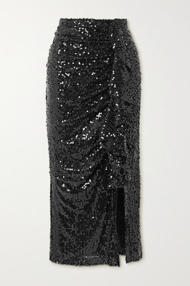 In The Mood For Love Moore Ruffled Sequined Tulle Midi Skirt - Black