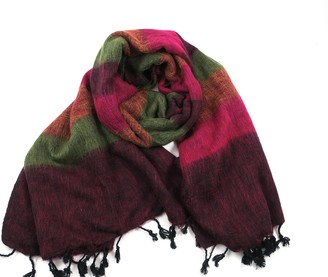 Cool Trade Winds Scarf / Wrap - 100% Fair Trade - Yak Cotton Shawl (Berry Mix)(Size: 190cm x 85cm in size)
