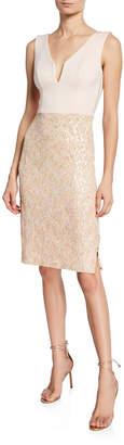 Black Halo Brianna V-Neck Sleeveless Sequin-Skirt Cocktail Dress