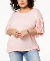 Eyeshadow Trendy Plus Size Fringed Studded Top