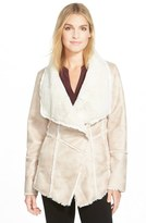 Laundry by Shelli Segal Draped Collar Faux Shearling Coat (Regular & Petite)