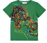 Gucci Kids' Tiger-&-Snake-Print Cotton T-Shirt