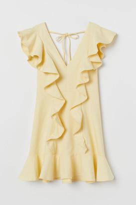 H&M Short Flounced Dress - Yellow