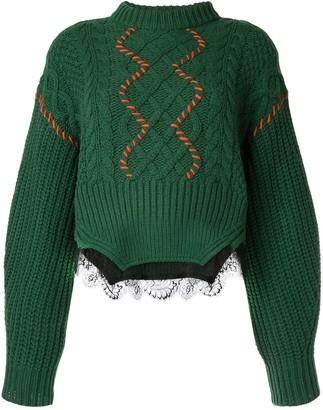 Self-Portrait contrast cable-knit jumper