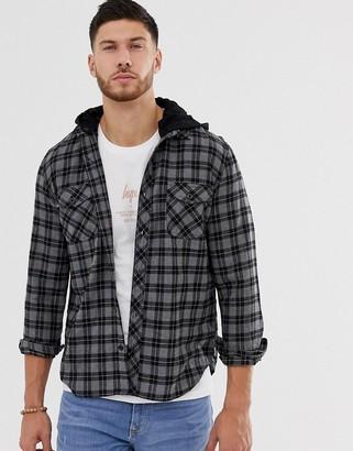 Hype hooded oversized checked shirt-Black