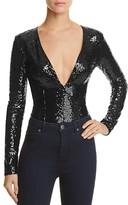 Rehab Deep V-Neck Sequin Bodysuit