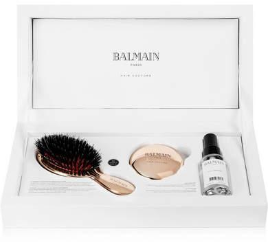 Couture Balmain Paris Hair Rose Gold-plated Boar Bristle Brush & Mirror Set