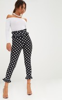 PrettyLittleThing Black Polka Dot Frill Trim Trousers