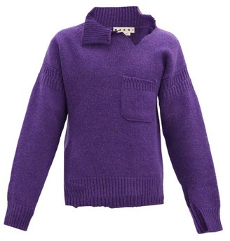 Marni Deconstructed Raw-edge Wool Sweater - Purple