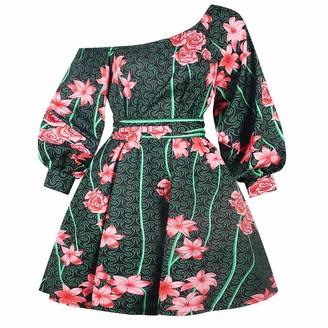 DESIBA Sexy Dress Ladies Single Neck Sleeve Swimsuit Ethnic Printed Elastic Irregular Leak Back Puff Skirt Dress Printing Long Sleeve Mini Dress Off Shoulder(Green L)