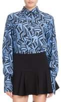 Chloé Long-Sleeve Button-Front Geometric-Print Silk Crepe de Chine Blouse