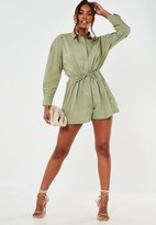 Missguided Khaki Oversized Drawstring Shirt Playsuit