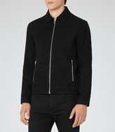 Reiss Reiss Bay - Suede Jacket In Black