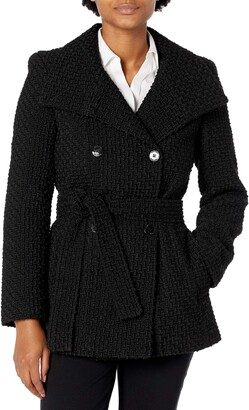 Calvin Klein Womens Petite Sized Double Breated Wool Coat