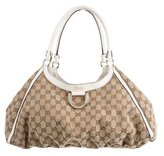 Gucci GG Canvas D-Ring Gold Hobo