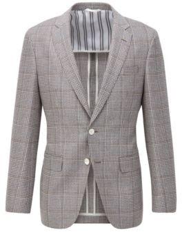 BOSS Slim-fit jacket in virgin wool with linen