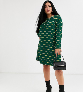 Glamorous Curve long sleeve shift dress in tiger print-Green