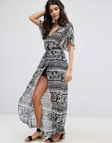 Amuse Society Amusesociety Printed Front Split Beach Dress