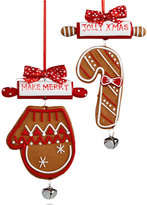 Holiday Lane Set of 2 Jolly Christmas and Make Merry Gingerbread Ornaments