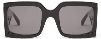 Celine Wide-arm Square Acetate Sunglasses - Womens - Black