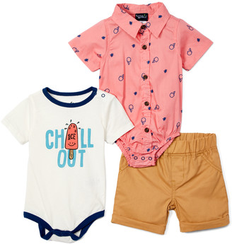 Little Rebels Boys' Infant Bodysuits PINK - White 'Chill Out' & Pink Ice Cream Button-Up Bodysuit Set - Newborn