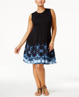 Style&Co. Style & Co Plus Size Printed Fit & Flare Swing Dress, Created for Macy's