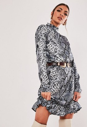 Missguided Petite Gray Animal Print Drop Waist Smock Dress