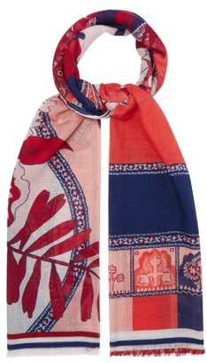 Etro Floral And Paisley-print Cashmere-blend Scarf - Womens - Red Multi