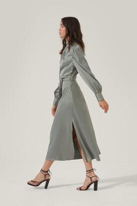 Nasty Gal Womens Satin High Neck Belted Midi Dress - Black - 4