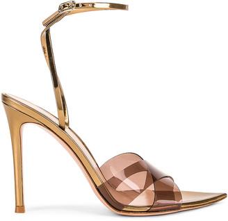 Gianvito Rossi Stark Plexi Ankle Strap Heels in Blush & Gold | FWRD