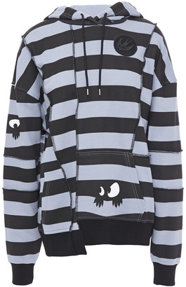 McQ Printed Striped French Cotton-terry Hoodie