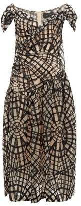 Simone Rocha Web-pattern Draped Tulle Dress - Womens - Black Multi
