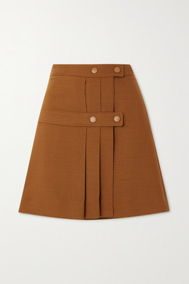 See by Chloe Pleated Twill Wrap Mini Skirt - Camel
