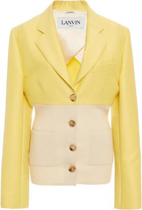 Lanvin Cotton-Silk Ribbed-Knit-Paneled Blazer