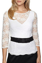 Alex Evenings Belted Lace 3/4 Sleeve Blouse