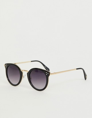 Accessorize Lizzy round metal trim sunglasses-Gold
