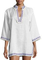 Tory Burch Embellished Linen Coverup Tunic, White