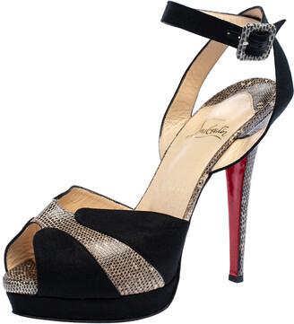 Christian Louboutin Black Canvas And Double Moc Lizard Leather Platform Ankle Strap Sandals Size 38.5