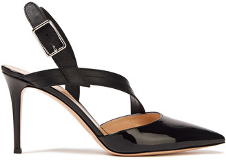 Gianvito Rossi Smooth And Patent-leather Slingback Pumps