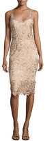 Marchesa Sleeveless Metallic Floral Sheath Dress, Beige