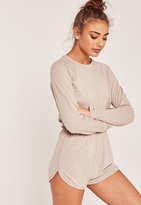 Missguided Jersey Curved Hem Short Playsuit Nude