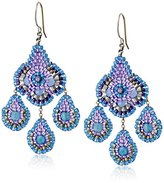 Miguel Ases Blue Quartz and Silver Small Chandelier Drop Earrings