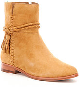 Frye Tina Suede Whipstitch Tassel Pull On Short Boots