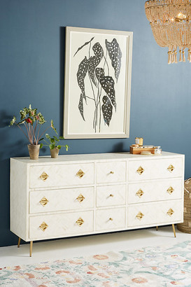 Anthropologie Optical Inlay Nine-Drawer Dresser By in White Size ALL